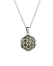 Silver-Tone Olive Flower Cluster Pendant Necklace