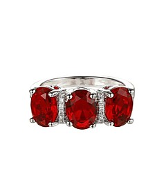 Silver-Tone Ruby Accent Trio Pear Ring