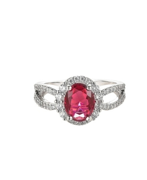 A & M Silver-Tone Ruby Accent Ring