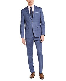 Men's Slim-Fit Stretch Light Blue Windowpane Plaid Suit