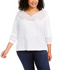 Plus Size Eyelet Top, Created for Macy's
