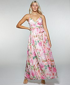 Juniors' Floral-Print Belted Crossover Gown