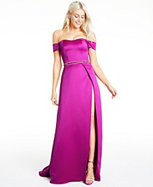 Juniors' Off-The-Shoulder Faux-Wrap Gown