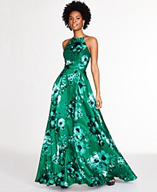 Juniors' Floral-Print Open-Back Gown, Created for Macy's
