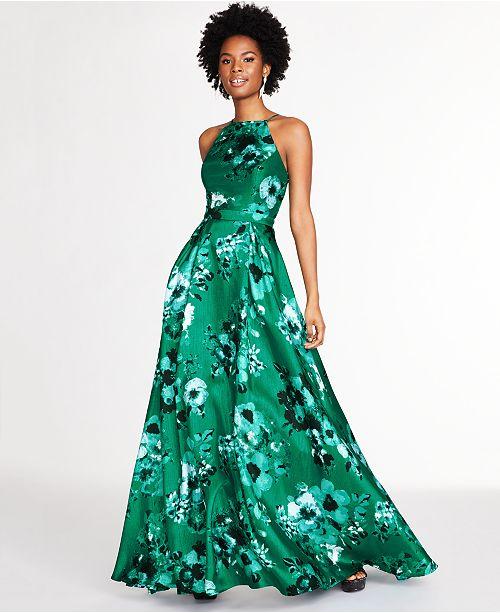 City Studios Juniors' Floral-Print Open-Back Gown, Created for Macy's