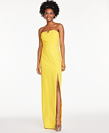 Notched Strapless Gown