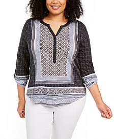 Plus Size Printed Button-Neck Top, Created for Macy's