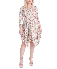 Trendy Plus Size Kaelin Printed Handkerchief-Hem Dress