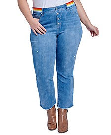 Trendy Plus Size Rainbow-Trim Bootcut Ankle Jeans