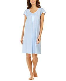 Lace-Trim Embroidered Nightgown