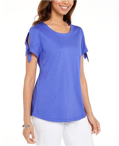 Karen Scott Tie-Sleeve T-Shirt, Created For Macy's