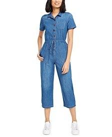 Cotton Denim Drawstring Jumpsuit