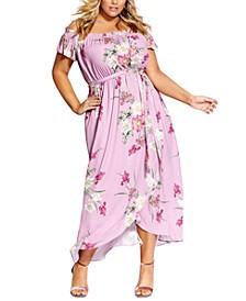 Trendy Plus Size Pink Floral Maxi Dress