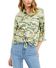 Printed Button-Front Roll-Tab-Sleeve Top