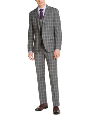 Men's Slim-Fit Stretch Gray Plaid Suit Jacket, Created for Macy's