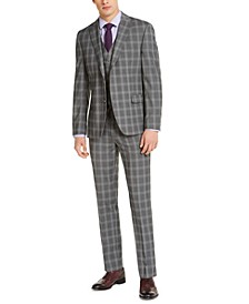 Men's Slim-Fit Stretch Gray Plaid Suit Separates, Created for Macy's
