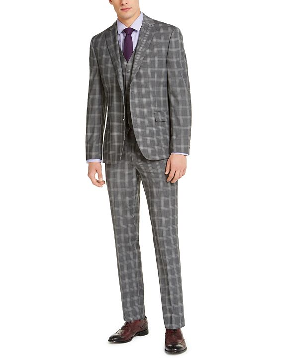 Alfani Men's Slim-Fit Stretch Gray Plaid Suit Separates, Created for Macy's
