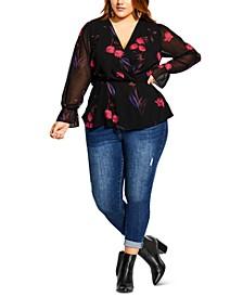 Trendy Plus Size Floral-Print Top