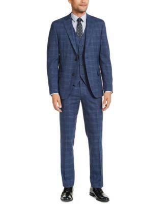 Men's Slim-Fit Stretch Navy Blue Plaid Suit Pants, Created for Macy's