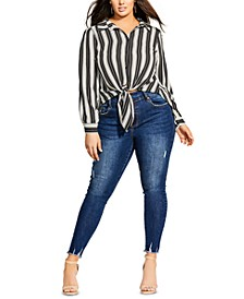 Trendy Plus Size Stripe Out Tie-Front Top