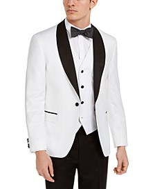 Men's Slim-Fit White Floral Medallion Jacket & Vest Separates, Created for Macy's