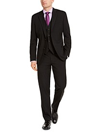 Men's Classic-Fit Stretch Black Solid Suit Separates, Created For Macy's