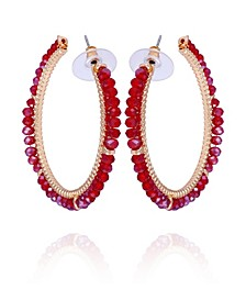 Winter Garden Beaded C-Hoop Earring
