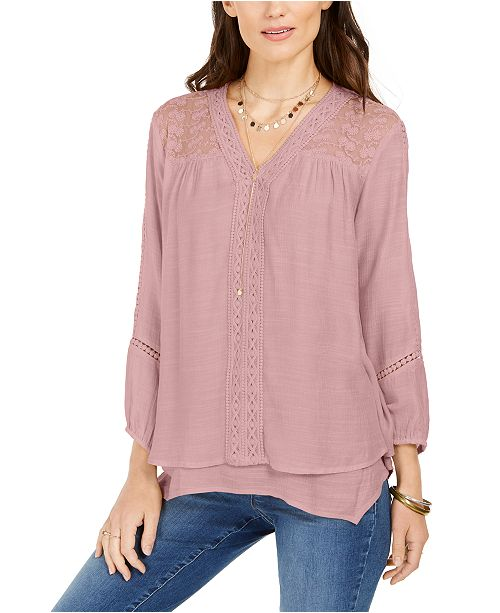 Style & Co Lace-Yoke Handkerchief-Hem Top, Created for Macy's