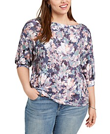 Plus Size Printed Puff-Sleeve Top