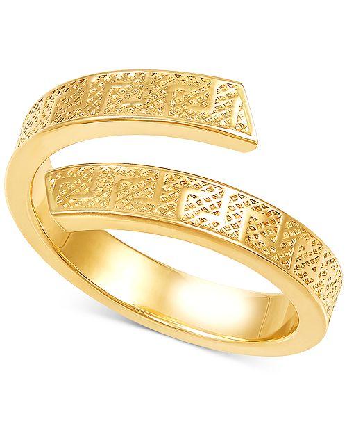 Italian Gold Greek Key Bypass Statement Ring in 10k Gold