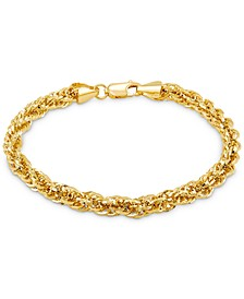 Glitter Rope Link Chain Bracelet in 14k Gold