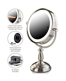 "7.5"" Lighted Tabletop Mirror, Smarttouch Cool"