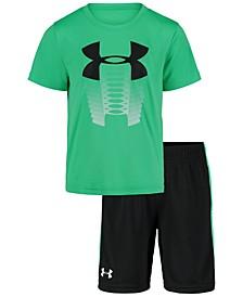 Little Boys 2-Pc. Logo-Print T-Shirt & Side-Stripe Shorts Set