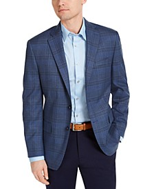 Men's Classic-Fit Blue Plaid Sport Coat