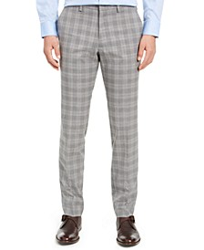 Men's Slim-Fit Stretch Plaid Dress Pants