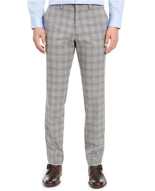 Kenneth Cole Reaction Men's Slim-Fit Stretch Plaid Dress Pants