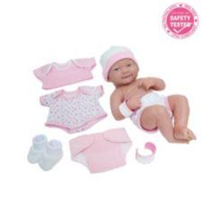 "La Newborn Nursery 14"" Smiling Baby Doll 8 Pcs Pink Gift Set"