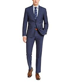 Men's Slim-Fit Stretch Navy Blue/Blue Stripe Suit Separates
