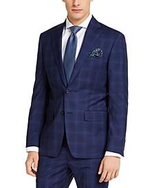 Men's Slim-Fit Stretch Blue Plaid Suit Jacket