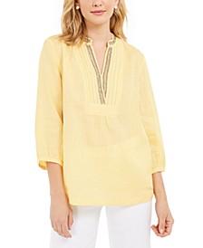 Linen Beaded Split-Neck Top, Created for Macy's