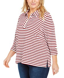 Plus Size Striped Zip-Neck Top