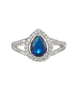 A & M Silver-Tone Sapphire Pear Shaped Ring