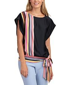 Striped Tie-Hem Top