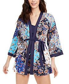 Paisley Print Robe, Cami & Shorts 3pc Pajama Set