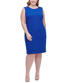 Plus Size Grid Knit Sheath Dress