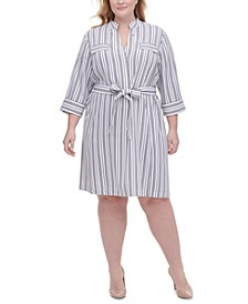 Plus Size Twill Striped Shirtdress