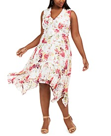 Plus Size Floral-Print Lace Dress
