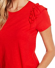 Ruffled-Shoulder T-Shirt