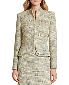 Double-Breasted Peplum-Hem Boucle Blazer