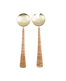 Brushed Gold Salad Servers with Rattan Handles